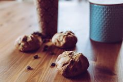 A quick breakfast - bread and coffee royalty free stock photo