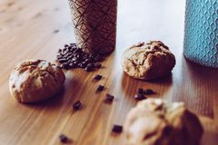 A quick breakfast for busy people - caffeine and bread stock images