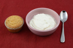 Quick breakfast. Of cranberry orange muffin and Greek yogurt Stock Images