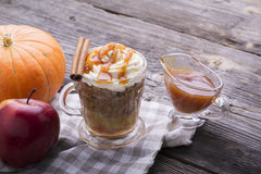 Quick breakfast snack for a few minutes in the microwave. Traditional apple pie in  mug with whipped cream quickly. Quick breakfast snack for a few minutes in Stock Photo