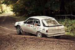 Quick capture of fast rally car Royalty Free Stock Photos