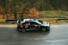 Quick capture of fast rally car Royalty Free Stock Images
