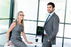 Quick catch up between colleagues Stock Images