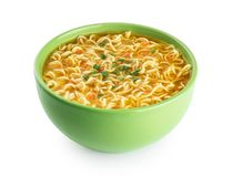 Quick chicken noodle Soup. Bowl of instant noodles. Quick chicken noodle Soup. Bowl of instant noodles isolated on white background. With clipping path stock photo