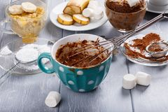 Quick chocolate mug cake with marshmallow stock photography