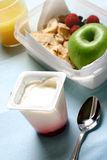 Quick and convenient snack. Or light lunch pack made up of an apple, raspberries, orange juice and fruit yogurt. Concept of healthy eating stock images