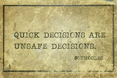 Quick decisions Sophocles royalty free stock image