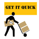 Quick delivery. Delivery man with boxes on a dolly illustration Royalty Free Stock Photo