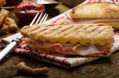 Quick dinner, toast with ham and cheese Royalty Free Stock Photo