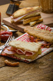 Quick dinner, toast with ham and cheese Stock Image
