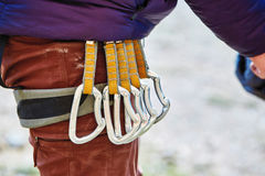 Quick-draws on the  climber's harness Royalty Free Stock Image