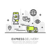 Quick Express Delivery Service with Mobile Tracking and Fast Purchase, Smart System. Vector Icon Style Illustration Concept of Quick Express Delivery Service Stock Photo