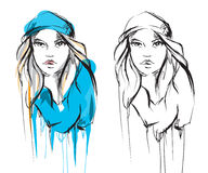 Quick fashion sketch. young girl. Vector illustration. sketch of young fashion girl Royalty Free Stock Image