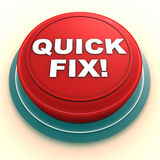 Quick fix with easy solution. A quick fix button, showing availability of an easy solution or fix, help and support concept stock illustration