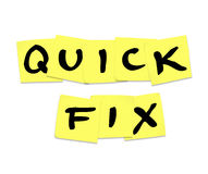 Quick Fix Words on Sticky Notes - Repair Solution Answer Stock Image