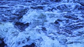 A quick flow of water and foamy waves. The fast current. Beautiful foamy waves on the rapid river. Wave creates an obstacle under water. There is foam on the vector illustration