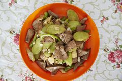 Quick fried liver. Chinese food, quick fried with distilled grains sauce and cucumber Stock Photo
