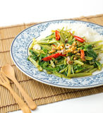 Quick-fried water spinach with chili. Soy sauce and rice Stock Photos