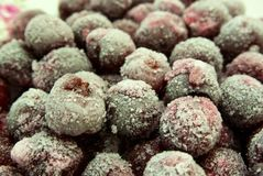 Quick-frozen fruit cherry coated hoarfrost Stock Photography