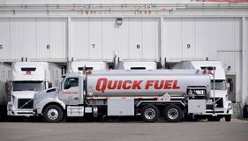 Quick Fuel Gas Truck. Quick Fuel is your partner for reliable, innovative fueling solutions.  Our services include mobile fueling, fuel delivered directly to Stock Photos