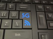 5G Mobile Connection Button. A quick 5G connection on a black keyboard Stock Photography