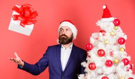 Free Quick Gift Delivery. Gift Service Concept. Send Or Receive Christmas Present. Man Bearded Hipster Formal Suit Happy Royalty Free Stock Image - 133008206