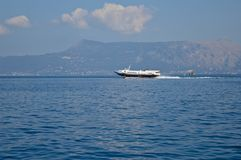 Fast trip on the Ionian Sea. A quick hydrofoil craft run across the Mediterranean Sea in Greece, Europe Stock Photo