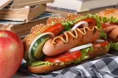 A quick lunch: a hot dog and apple Stock Photos