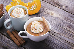 Quick meal breakfast snack in the microwave. Fragrant homemade pumpkin pie fall for five minutes in the cup portions Stock Photo