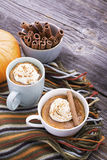 Quick meal breakfast snack in the microwave. Fragrant homemade pumpkin pie fall for five minutes in the cup portions Stock Photos