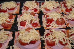 Quick mini pizzas ready for baking. A small pizza can be cooked quickly Stock Photography