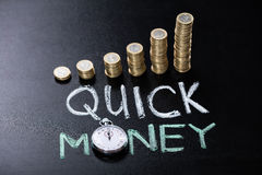 Quick Money Concept On Blackboard Royalty Free Stock Photo