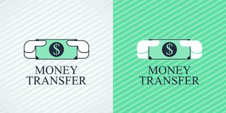 Quick money transfer vector logo, icon. Design element with banknote as a symbol of express money transfer company Stock Image