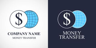 Quick money transfer vector logo, icon. Globe and dollar sign in design element for global money transfers Royalty Free Stock Image