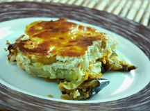 Quick moussaka. Greek moussaka with eggplant, zucchini and feta cheese Stock Image