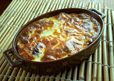 Quick moussaka. Greek moussaka with eggplant, zucchini and feta cheese Royalty Free Stock Photos