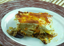 Quick moussaka. Greek moussaka with eggplant, zucchini and feta cheese Royalty Free Stock Photo