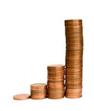 Quick Profit. A row of coin stacks representing increase of profit, turnover, etc Stock Image