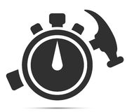 Quick repair. Icon. Icon stopwatch and a hammer. Quick repair Stock Images