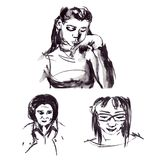 Quick sketches of black ink of male and female portraits in a graphic style. Black and gray Stock Photography