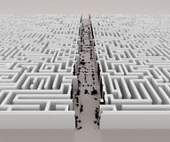 Quick solution. A way across a labyrinth quickly found by bringing down the walls Stock Image