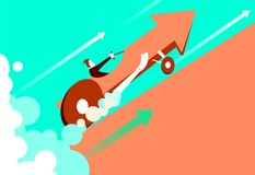 Quick start of business. The enormous speed of the car arrow. Vector illustration stock illustration
