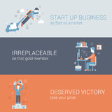 Quick start up business work hard win flat web banners template Stock Images