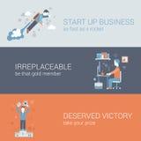 Quick start up business work hard win flat web banners template. Flat quick start up business, work hard, win concept. Vector icon banners template set. Rocket Stock Images