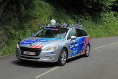Quick Step car. Beost,France,July 15th 2011:Image of the official car of the Quick Step cycling team on the category H climbing route to mountain pass Abisque in Royalty Free Stock Photos