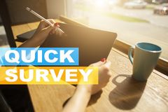 Free Quick Survey Text On Virtual Screen. Feedback And Customers Testimonials. Business Internet And Technology Concept. Royalty Free Stock Images - 110364199