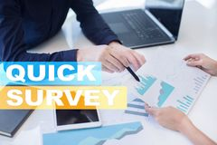 Quick survey text on virtual screen. Feedback and customers testimonials. Business internet and technology concept. Quick survey text on virtual screen stock photography