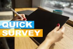 Quick survey text on virtual screen. Feedback and customers testimonials. Business internet and technology concept. Quick survey text on virtual screen royalty free stock photo