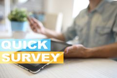 Quick survey text on virtual screen. Feedback and customers testimonials. Business internet and technology concept. Quick survey text on virtual screen royalty free stock photos