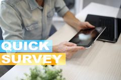 Quick survey text on virtual screen. Feedback and customers testimonials. Business internet and technology concept. Quick survey text on virtual screen stock images